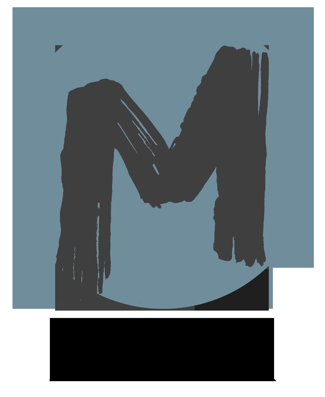 Retroblå MERK logo sirkel